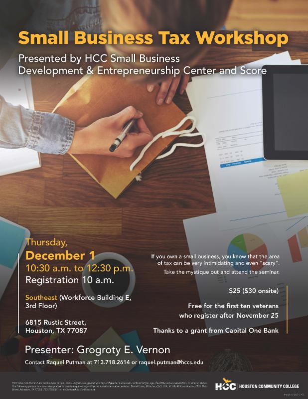 Small Business Tax Workshop : Houston Community College